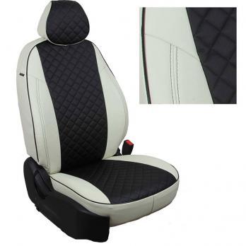 Модельные авточехлы для Toyota Matrix из экокожи Premium 3D ромб, белый+черный
