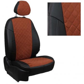 Модельные авточехлы для Toyota Matrix из экокожи Premium 3D ромб и алькантары, черный+коричневый