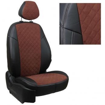 Модельные авточехлы для Toyota Matrix из экокожи Premium 3D ромб и алькантары, черный+шоколад
