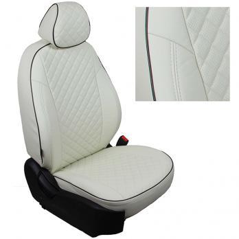 Модельные авточехлы для Mitsubishi Pajero III-IV из экокожи Premium 3D ромб, белый