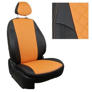 Модельные авточехлы для Volkswagen Polo (2009-н.в.) из экокожи Premium 3D ромб, черный+оранжевый