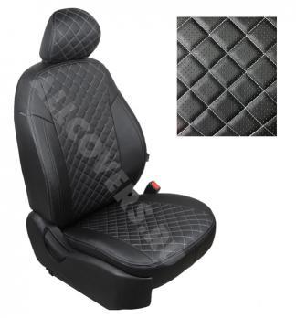 Модельные авточехлы для Lada (ВАЗ) Priora (2014-н.в.) из экокожи Premium 3D ромб, черный+нитка белая