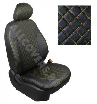 Модельные авточехлы для Lada (ВАЗ) Priora (2014-н.в.) из экокожи Premium 3D ромб, черный+нитка желтая