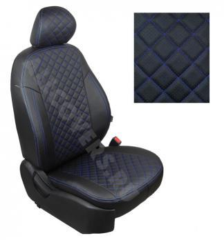 Модельные авточехлы для Lada (ВАЗ) Granta (2018-н.в.) из экокожи Premium 3D ромб, черный+нитка синяя