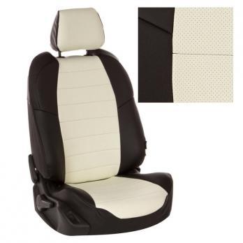 Модельные авточехлы для Chevrolet Lanos из экокожи Premium, черный+белый