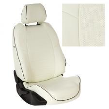 Модельные авточехлы для Hyundai Accent из экокожи Premium, белый