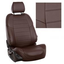 Модельные авточехлы для Hyundai Accent из экокожи Premium, шоколад
