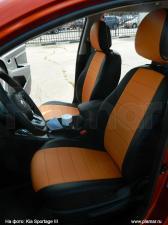 Модельные авточехлы для Hyundai Elantra V MD (2010-2016) из экокожи Premium, черный+оранжевый