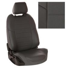 Модельные авточехлы для Hyundai Matrix из экокожи Premium, серый