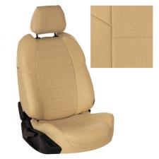 Модельные авточехлы для ВАЗ (Lada) 2114 из экокожи Premium, бежевый