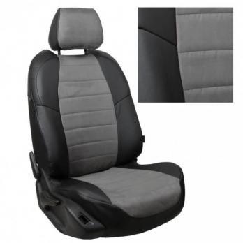 Модельные авточехлы для Chevrolet Aveo (2012-н.в.) из экокожи Premium и алькантары, черный+серый