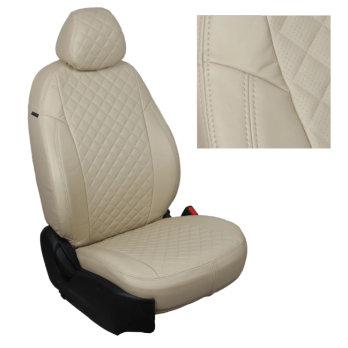 Модельные авточехлы для Hyundai Solaris (2017-н.в.) из экокожи Premium 3D ромб, бежевый