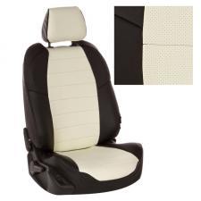 Модельные авточехлы для Ravon Nexia из экокожи Premium, черный+белый