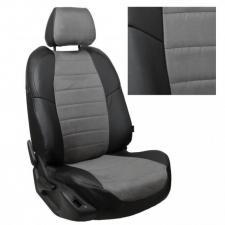 Модельные авточехлы для Kia Sportage (2015-н.в.) из экокожи Premium и алькантары, черный+серый