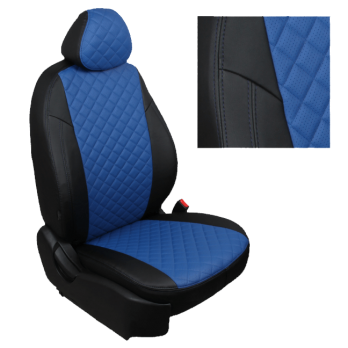 Модельные авточехлы для Mitsubishi L200 (2015-н.в.) из экокожи Premium 3D ромб, черный+синий