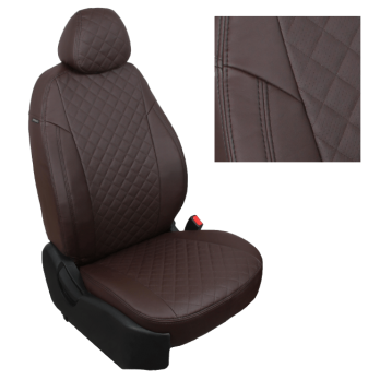 Модельные авточехлы для Mitsubishi L200 (2007-2015) из экокожи Premium 3D ромб, шоколад
