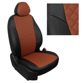 Модельные авточехлы для Nissan Terrano из экокожи Premium 3D ромб, черный+коричневый