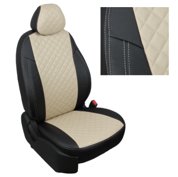 Модельные авточехлы для Nissan X-Trail T32 (2015-н.в.) из экокожи Premium 3D ромб, черный+бежевый