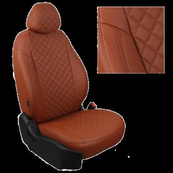 Модельные авточехлы для Renault Symbol из экокожи Premium 3D ромб, коричневый