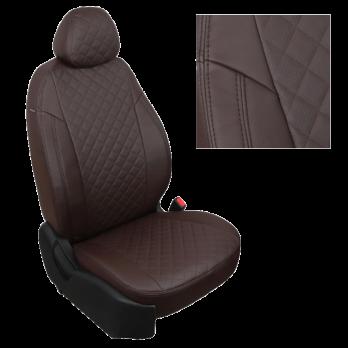 Модельные авточехлы для Renault Symbol из экокожи Premium 3D ромб, шоколад