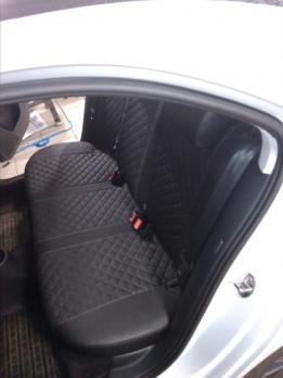 Модельные авточехлы для Skoda Rapid (2014-н.в.) из экокожи Premium 3D ромб, черный