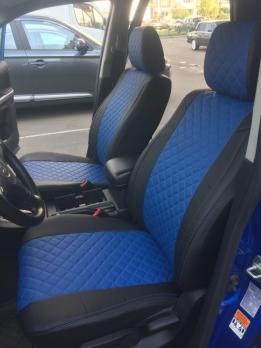 Модельные авточехлы для Suzuki Grand Vitara (2005-2015) из экокожи Premium 3D ромб, черный+синий