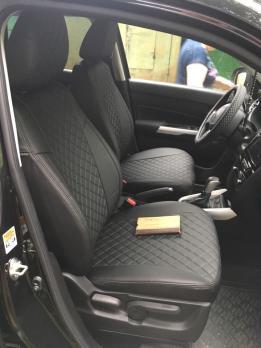 Модельные авточехлы для Suzuki Vitara (2015-н.в.) из экокожи Premium 3D ромб, черный