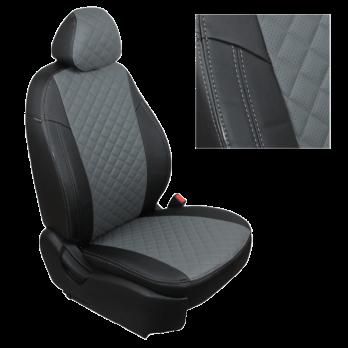Модельные авточехлы для Volkswagen Amarok из экокожи Premium 3D ромб, черный+серый