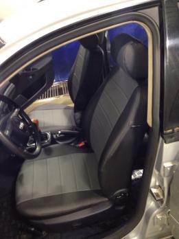 Модельные авточехлы для Audi a4 b5 (1994-2001) из экокожи Premium, черный+серый