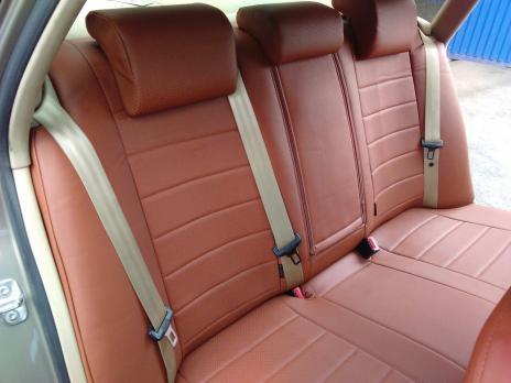 Модельные авточехлы для Audi A4 B6/B7 (2000-2007) из экокожи Premium, коричневый