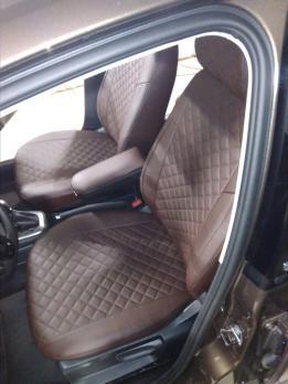 Модельные авточехлы для Volkswagen Polo (2009-н.в.) из экокожи Premium 3D ромб, шоколад