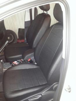 Модельные авточехлы для Audi Q-3 (2011-н.в.) из экокожи Premium, черный