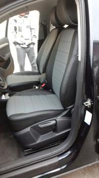 Модельные авточехлы для Audi Q-3 (2011-н.в.) из экокожи Premium, черный+серый
