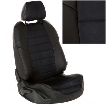 Модельные авточехлы для Chevrolet  Cruze из экокожи Premium и алькантары, черный